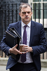 London, UK. 18th December, 2018. Julian Smith MP, Chief Whip, leaves 10 Downing Street following the final Cabinet meeting before the Christmas recess. Topics discussed were expected to have included preparations for a 'No Deal' Brexit.