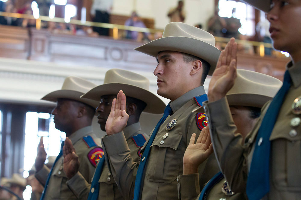 Texas Department of Public Safety (DPS) commissions a class of 74 new state troopers at the Texas Capitol following 21 weeks of training in counter-terrorism, traffic and criminal law and arrest procedures.   December 19 , 2012