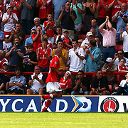Charlton Athletic's Paul Konchesky leaves the pitch after being send off against Chelsea.
