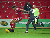 Accrington Stanley's Ben Richards-Everton shields the ball from Lincoln City's Jordan Adebayo-Smith<br /> <br /> Photographer Andrew Vaughan/CameraSport<br /> <br /> The EFL Checkatrade Trophy Second Round - Accrington Stanley v Lincoln City - Crown Ground - Accrington<br />  <br /> World Copyright © 2018 CameraSport. All rights reserved. 43 Linden Ave. Countesthorpe. Leicester. England. LE8 5PG - Tel: +44 (0) 116 277 4147 - admin@camerasport.com - www.camerasport.com