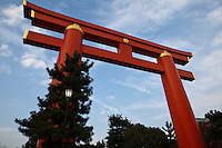 """Heian Shrine, or """"Heian jingu"""" as it is known in Japanese, is a Shinto shrine located in Kyoto. The torii before the main gate is one of the largest in Japan, .Heian Jingu was built in 1895 for the 1,100th anniversary of the establishment of Heiankyo - the old name of Kyoto and was dedicated to Emperor Kanmu and Emperor Komei."""
