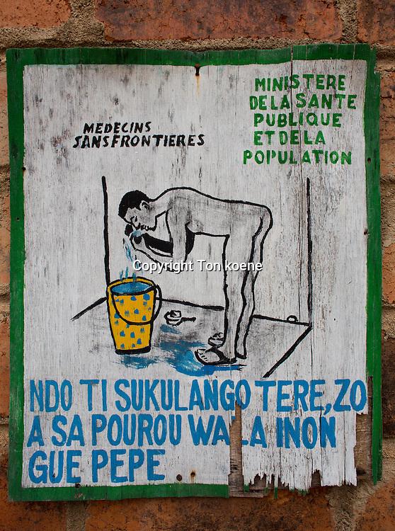 health education at the latrine in batangafo hospital, CAR