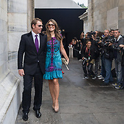 Sesto e penultimo giorno della Settimana della Moda a Milano: Elizabeth Hurley e Shane Warne fotografata alla sfilata di Roberto Cavalli<br /> <br /> Sixth day and penultimate day of Milan Fashion Week: Elizabeth Hurley and Shane Warne photographed at the fashion show Roberto Cavalli