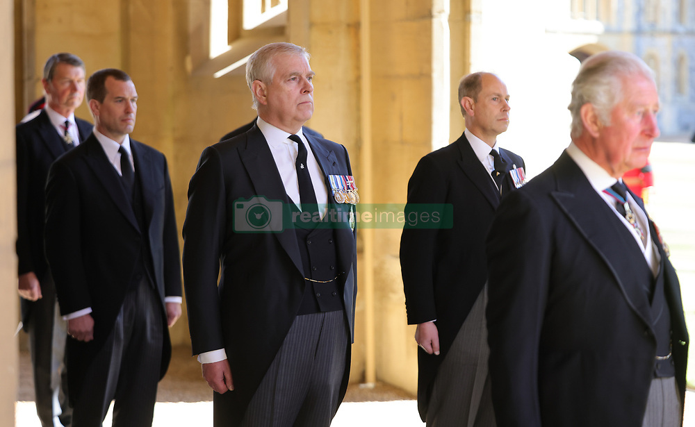 The Duke of York (centre) ahead of the funeral of the Duke of Edinburgh at Windsor Castle, Berkshire. Picture date: Saturday April 17, 2021.