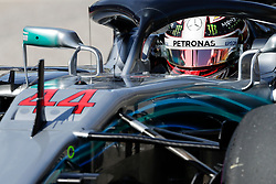 October 21, 2018 - Austin, TX, U.S. - AUSTIN, TX - OCTOBER 21: Mercedes driver Lewis Hamilton (44) of Great Britain waits to drive onto COTA track prior to the F1 United States Grand Prix on October 21, 2018, at Circuit of the Americas in Austin, TX. (Photo by John Crouch/Icon Sportswire) (Credit Image: © John Crouch/Icon SMI via ZUMA Press)