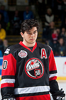 KELOWNA, CANADA - NOVEMBER 9: Nick Merkley #10 of Team WHL lines up against the Team Russia on November 9, 2015 during game 1 of the Canada Russia Super Series at Prospera Place in Kelowna, British Columbia, Canada.  (Photo by Marissa Baecker/Western Hockey League)  *** Local Caption *** Nick Merkley;