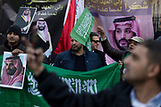 On the first day of his official 3-day visit to London, supporters of Saudi Crown Prince Mohammed bin Salman celebrate in Whitehall before bin Salmans meeting with Prime Minister Theresa May in Downing Street, on 7th March 2018, in London England.