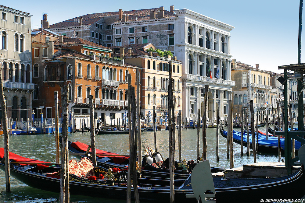 Colorful gondolas and buildings line the Canal Grande in Venice, Veneto, Italy.