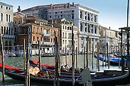 Colorful gondolas and buildings line the Canal Grande in Venice, Veneto, Italy.
