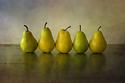 Five Pears in a Row on Rusted Metal styled and photographed in my studio.
