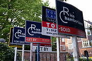 Rice Chamberlains estate agents for sale and sold signs in Moseley area in Birmingham, United Kingdom. An estate agent is a person or business that arranges the selling, renting, or management of properties and other buildings. An agent that specialises in renting is often called a letting or management agent. Estate agents are mainly engaged in the marketing of property available for sale.