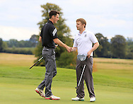 Stephen Kinch (MU) shakes James Patterson's (Knock) on winning their match on the 18th green during the Final of the AIG Senior Cup at the AIG Cups & Shields National Finals in Carton House, Maynooth, Co. Kildare on the 19/09/15.<br /> Picture: Thos Caffrey | Golffile