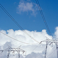 High voltage electric transmission lines cross California.