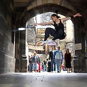 "Artists of the korean show "" Jump ""  performing outside the Edinburgh Assembly Hall,  during the Edinburgh Festival 2006.&#xA;<br />"