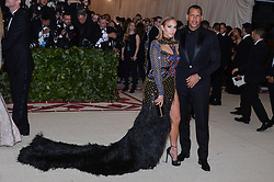Jennifer Lopez and Alex Rodriguez walking the red carpet at The Metropolitan Museum of Art Costume Institute Benefit celebrating the opening of Heavenly Bodies : Fashion and the Catholic Imagination held at The Metropolitan Museum of Art  in New York, NY, on May 7, 2018. (Photo by Anthony Behar/Sipa USA)