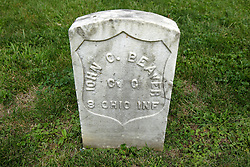 26 August 2017:   A part of the History of McLean County Illinois.<br /> <br /> Tombstones in Evergreen Memorial Cemetery.  Civic leaders, soldiers, and other prominent people are featured. Section 5, the old town soldiers area<br /> John C Beaver  Co C  8 Ohio INF