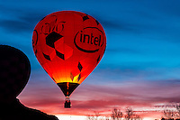 Dawn Patrol (balloons flying before dawn), Red Rock Balloon Rally, Red Rock State Park, near Gallup, New Mexico USA.