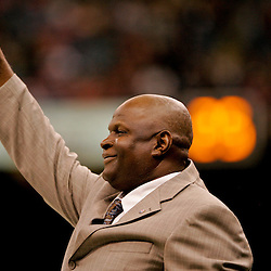2009 November 30:  Former New Orleans Saints linebacker Rickey Jackson a semi-finalist candidate for the Pro Football Hall of Fame on the field prior to kickoff of a 38-17 win by the New Orleans Saints over the New England Patriots at the Louisiana Superdome in New Orleans, Louisiana.