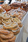 On a street market. Bread and cakes. Bordeaux city, Aquitaine, Gironde, France