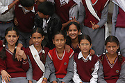 India, Nagar, Kullu District, Himachal Pradesh, Northern India, A school in Nagar, the pupils out side in the yard in a formal picture setting