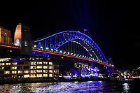 Sydney Harbour bridge lit up for Vivid Sydney 2017