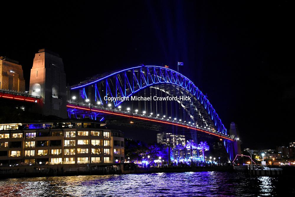 Sydney Harbour bridge lit up for Vivid Sydney 2017