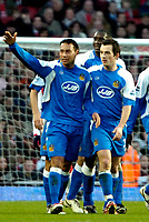 Photo: Ed Godden/Sportsbeat Images.<br /> Arsenal v Wigan Athletic. The Barclays Premiership. 11/02/2007. Wigan's Leighton Baines (R) and Denny Landzaat celebrate after Landzaat put the away team 1-0 up.