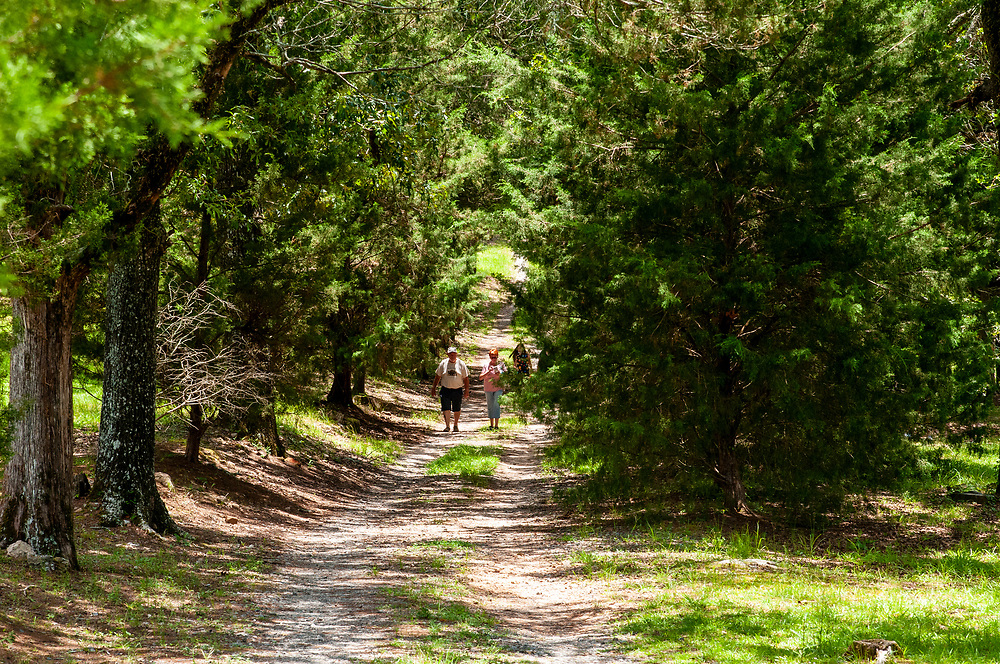 Visitors walk along the old road through Cedar Grove Cemetery at Central State Hospital in Milledgeville, Georgia on Saturday, July 17, 2021. Copyright 2021 Jason Barnette