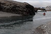 Kayak in river by Laxebu, Svalbard