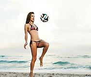 Supermodel Alessandra Ambrossio playing beach soccer