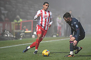 Stevenage defender Luther Wildin(2) during the FA Cup match between Stevenage and Swansea City at the Lamex Stadium, Stevenage, England on 9 January 2021.