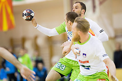 Uros Zorman of Slovenia during friendly handball match between National Teams of Slovenia and F.Y.R. of Macedonia before EHF EURO 2016 in Poland on January 4, 2015 in Sports hall Krsko, Krsko, Slovenia. Photo by Urban Urbanc / Sportida