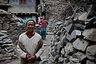 A man and woman pause for a portrait in the village of Giabong in the Ropa Valley of Himachal Pradesh
