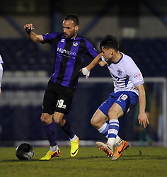 Bristol Rovers' Kaid Mohamed is challenged by Bury's Frederic Veseli - Photo mandatory by-line: Dougie Allward/JMP - Mobile: 07966 386802 01/04/2014 - SPORT - FOOTBALL - Bury - Gigg Lane - Bury v Bristol Rovers - Sky Bet League Two
