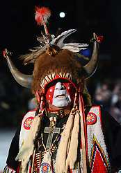 April 28, 2017 - Albuquerque, New Mexico, U.S. - Indian in buffalo traditional dress taking the floor for the Grand Entrance at the 2017 Gathering of Nations Pow-Pow. (Credit Image: © Jim Thompson/Albuquerque Journal via ZUMA Wire)