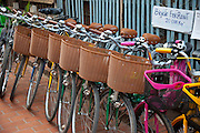 Luang Prabang, Laos. Bicycles for rent at the morning food market.