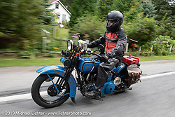 The Doobie Brothers' Pat Simmons riding his 1928 Harley-Davidson JD in the Motorcycle Cannonball coast to coast vintage run. Stage-2 (251-miles) from Keene, NH to Binghampton, NY. Sunday September 9, 2018. Photography ©2018 Michael Lichter.