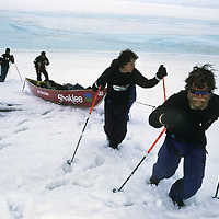 INTERNATIONAL ARCTIC PROJECT. Victor Boyarsky & Will Steger drag canoe sled onto Canada's Ward Hunt Island at end of expedition across Arctic Ocean