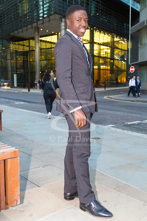 East Londoner Reggie Nelson has become a high flying city worker after knocking on door of smart homes in Kensington and speaking to their owners, asking how he can become wealthy and successful. London, September 28 2018.