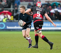 Cardiff Blues' Gareth Anscombe plays on despite having his shirt removed<br /> <br /> Photographer Simon King/Replay Images<br /> <br /> Guinness Pro14 Round 11 - Dragons v Cardiff Blues - Tuesday 26th December 2017 - Rodney Parade - Newport<br /> <br /> World Copyright © 2017 Replay Images. All rights reserved. info@replayimages.co.uk - www.replayimages.co.uk