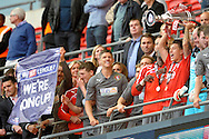 Rotherham United players celebrate their win. Skybet football league one play off final match , Leyton Orient  v Rotherham Utd at Wembley Stadium in  London on Sunday 25th May 2014.<br /> pic by John Patrick Fletcher, Andrew Orchard sports photography.