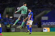 Brighton and Hove Albion forward Neal Maupay (9) wins a challenge from Everton striker James Rodriquez (19) during the Premier League match between Brighton and Hove Albion and Everton at the American Express Community Stadium, Brighton and Hove, England UK on 12 April 2021.
