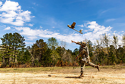 March 15, 2019 - Fort Polk, Louisiana, U.S. - U.S. Army Sgt. Javier Santos assigned to 3rd Battalion, 187th Infantry Regiment, 3rd Brigade Combat Team, 101st Airborne Division (Air Assault), launches the RQ-11 Raven remote-controlled unmanned aerial vehicle to observe enemy activity during Joint Readiness Training Center rotation 19-05 at Fort Polk, La., March 16, 2019. (Credit Image: ? U.S. Army/ZUMA Wire/ZUMAPRESS.com)