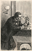 'Secretly steaming open a letter. Engraving, Pa;ris, 1879.'