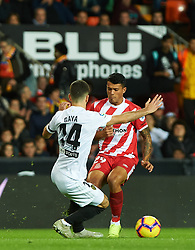 November 3, 2018 - Valencia, Valencia, Spain - Jose Luis Gaya of Valencia CF and Pedro Porro of Girona FC during the La Liga match between Valencia CF and Girona FC at Mestala Stadium on November 3, 2018 in Valencia, Spain (Credit Image: © AFP7 via ZUMA Wire)