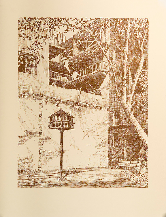 """Cat. #07 - Lithographic print of Pen and Ink drawing of """"Parque de las Palomas"""" in Old San Juan, Puerto Rico. This small  and old park is adjacent to """"Capilla del Cristo"""" and has a magnificent view of the San Juan Bay. This print is part of a series printed on antique colored paper.<br /> Paper size is 10x13"""". Image size is approximately 8x10"""" <br /> Cat. #07 - Impresión litográfica de un dibujo a plumilla del Parque de las Palomas en el Viejo San Juan, Puerto Rico. Este pequeño y antiguo parque esta adyacente a la Capilla de Cristo y tiene una magnifica vista de la  Bahía de San Juan. Esta impresión es parte de una serie impresa en papel estilo antiguo.<br /> Tamaño del papel es 10x13"""". Tamaño de la imagen es aproximadamente 8x10"""""""