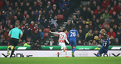 Danny Simpson of Leicester City (R) handles the ball in the area to concede a penalty - Mandatory by-line: Jack Phillips/JMP - 17/12/2016 - FOOTBALL - Bet365 Stadium - Stoke-on-Trent, England - Stoke City v Leicester City - Premier League