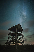 Birdwatching tower with the Milky Way in back, Kemeri National Park (Ķemeru Nacionālais parks), Latvia Ⓒ Davis Ulands | davisulands.com