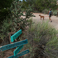 A woman and her dog walk along a trail at Ghost Ranch, near Abiquiu, New Mexico.