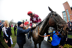 Jockey J J Slevin on board General Principle, celebrates after winning the Boylesports Irish Grand National Chase, during BoyleSports Irish Grand National Day of the 2018 Easter Festival at Fairyhouse Racecourse, Ratoath, Co. Meath.